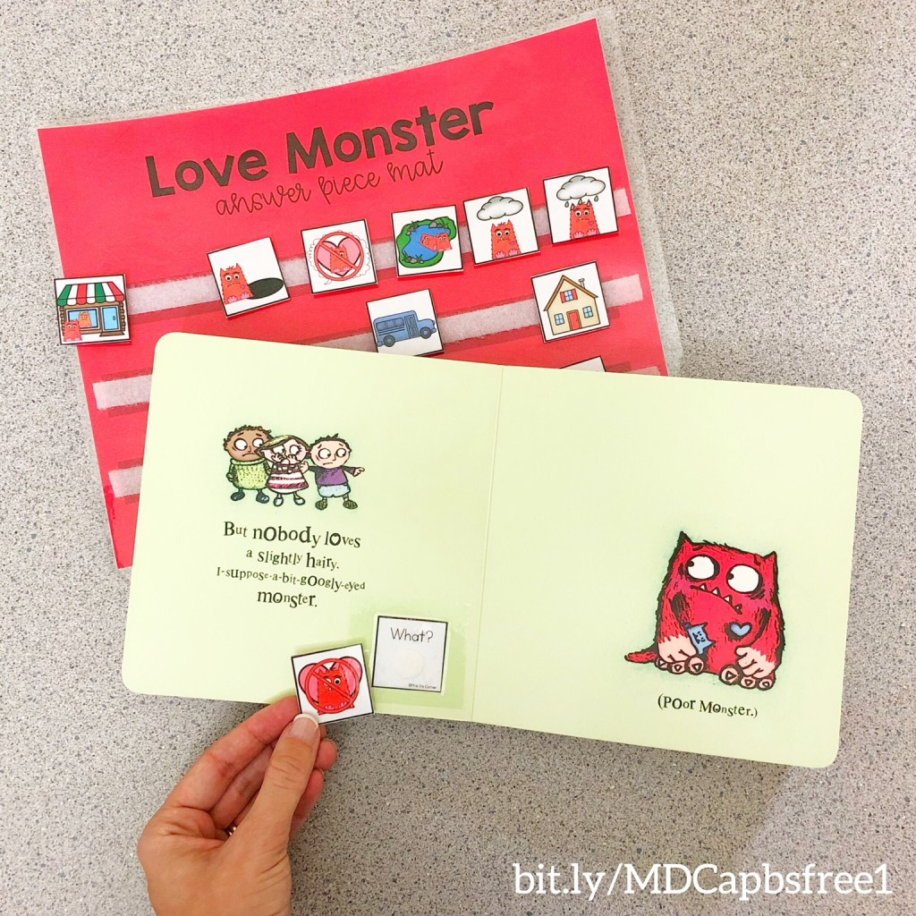 Love Monster Adapted Piece Book Set Preview Freebie. Instill a love of reading, model fluency, and introduce new genres of stories to your students with monthly Adapted Piece Book Sets. Great visuals to practice sequencing a story and practicing comprehension of WH questions with visuals.