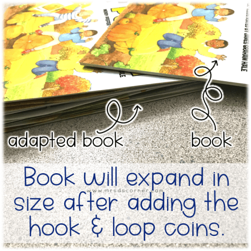Book will expand in size after adding the hook and loop coins.