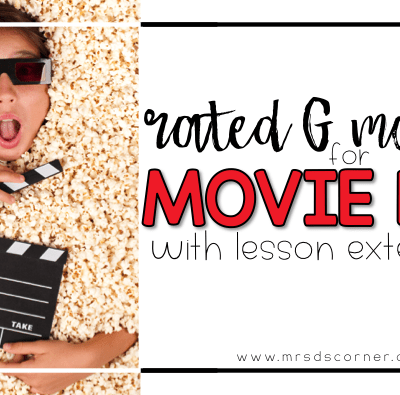 Rated G movies for movie day with lesson extensions. Blog post at Mrs. D's Corner. Movie days are rare, but a special occasion for students. While it's seems like a simple lesson, it's very complex for teachers. Let me make it easy for you.