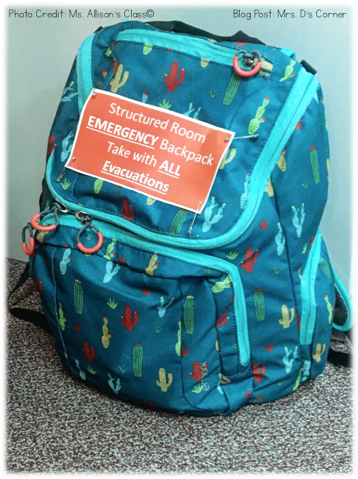 Emergency Backpack. Doing more than just surviving unplanned for events in the school day, like fire drills and lock downs. Also being fully prepared for field trips and classroom evacuations due to behaviors. Blog post at Mrs. D's Corner.