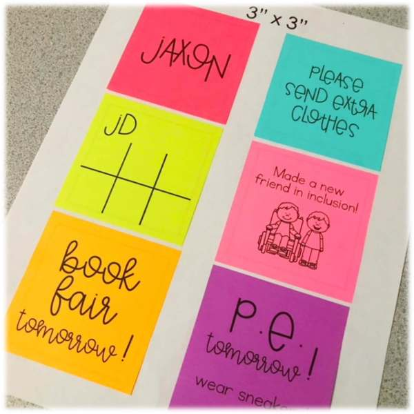 how to print on a sticky note. using sticky notes to collect data on iep goals