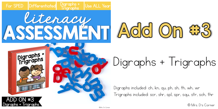 digraphs and trigraphs add on pack for literacy assessment