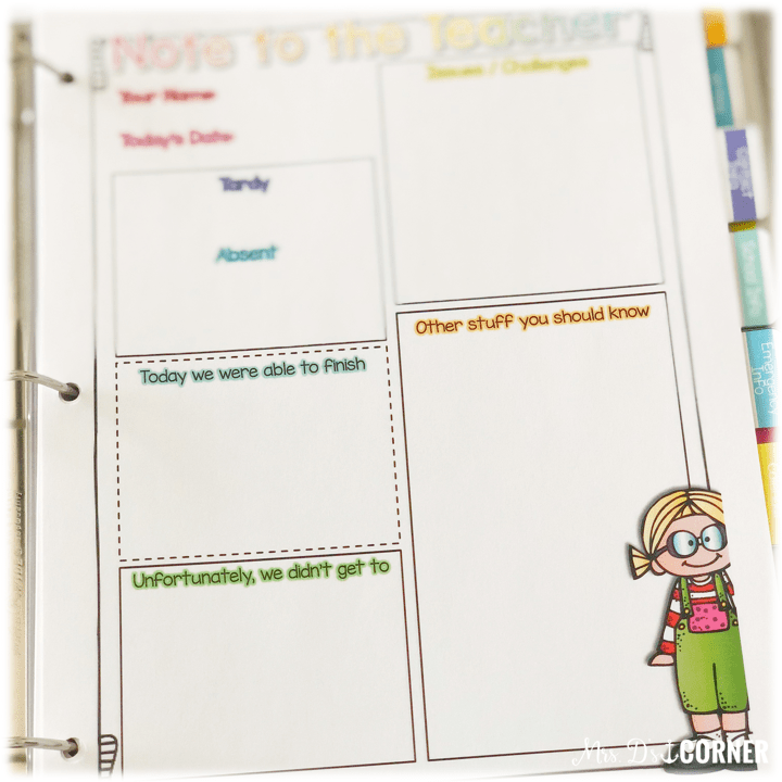 Substitute Binder for Special Ed Teachers - a note to the teacher from the substitute about how the day was
