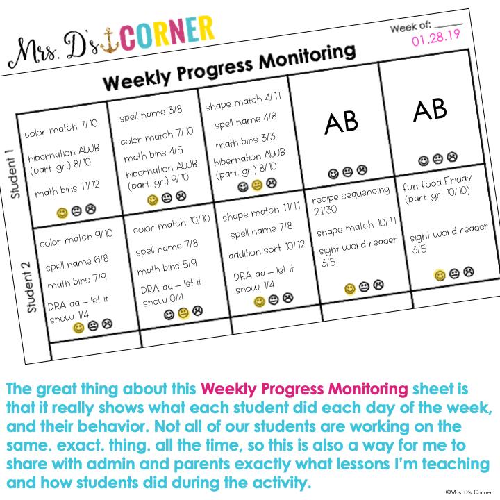 weekly progress monitoring sheet example