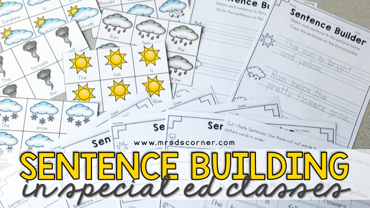 Sentence Building Activities for Special Ed
