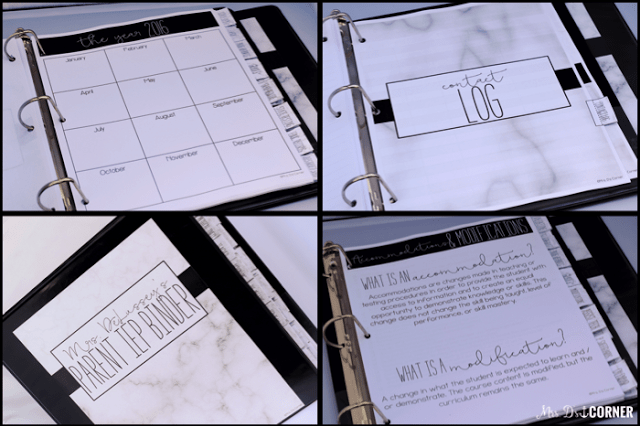 A Parent IEP Binder helps the parent keep important IEP information in one organized place.