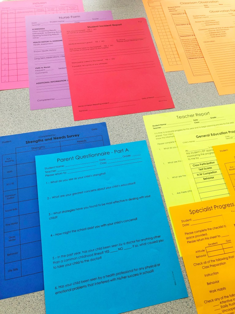 data sheets for special education - print on colored paper