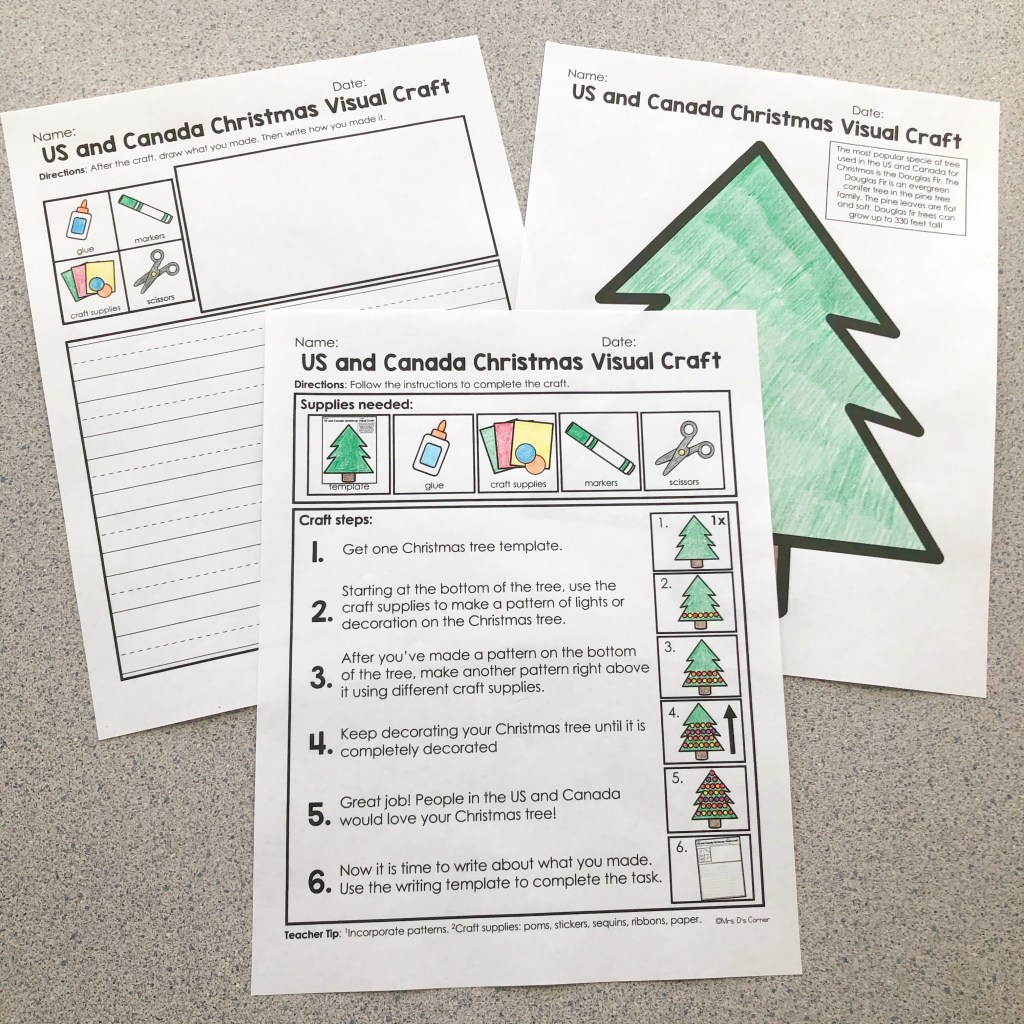 Visual crafts and writing activity for Holidays Around the World