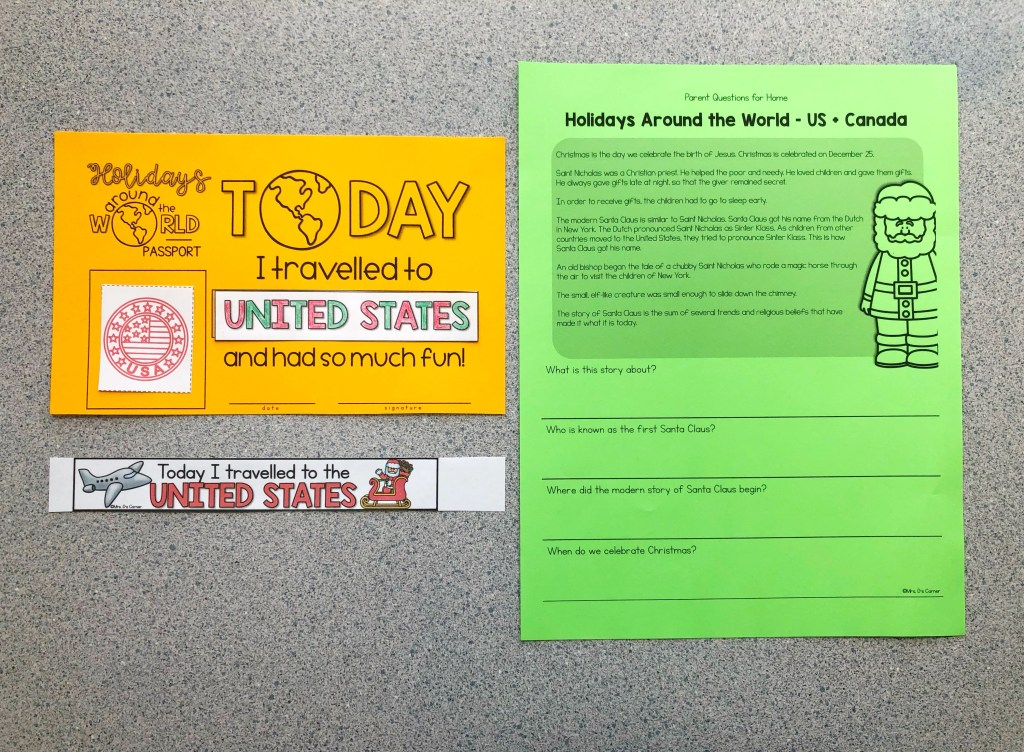 Certificate and wristband for the end of the Holidays Around the World, and a parent info sheet