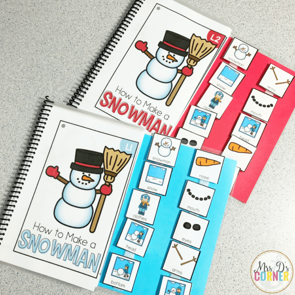 how to build a snowman adapted book level 1 and level 2.