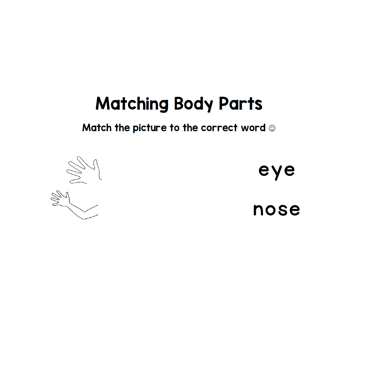 Matching Body Parts To Words