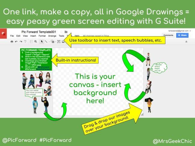 Green Screen Google Drawings Template - Mrs Geek Chic