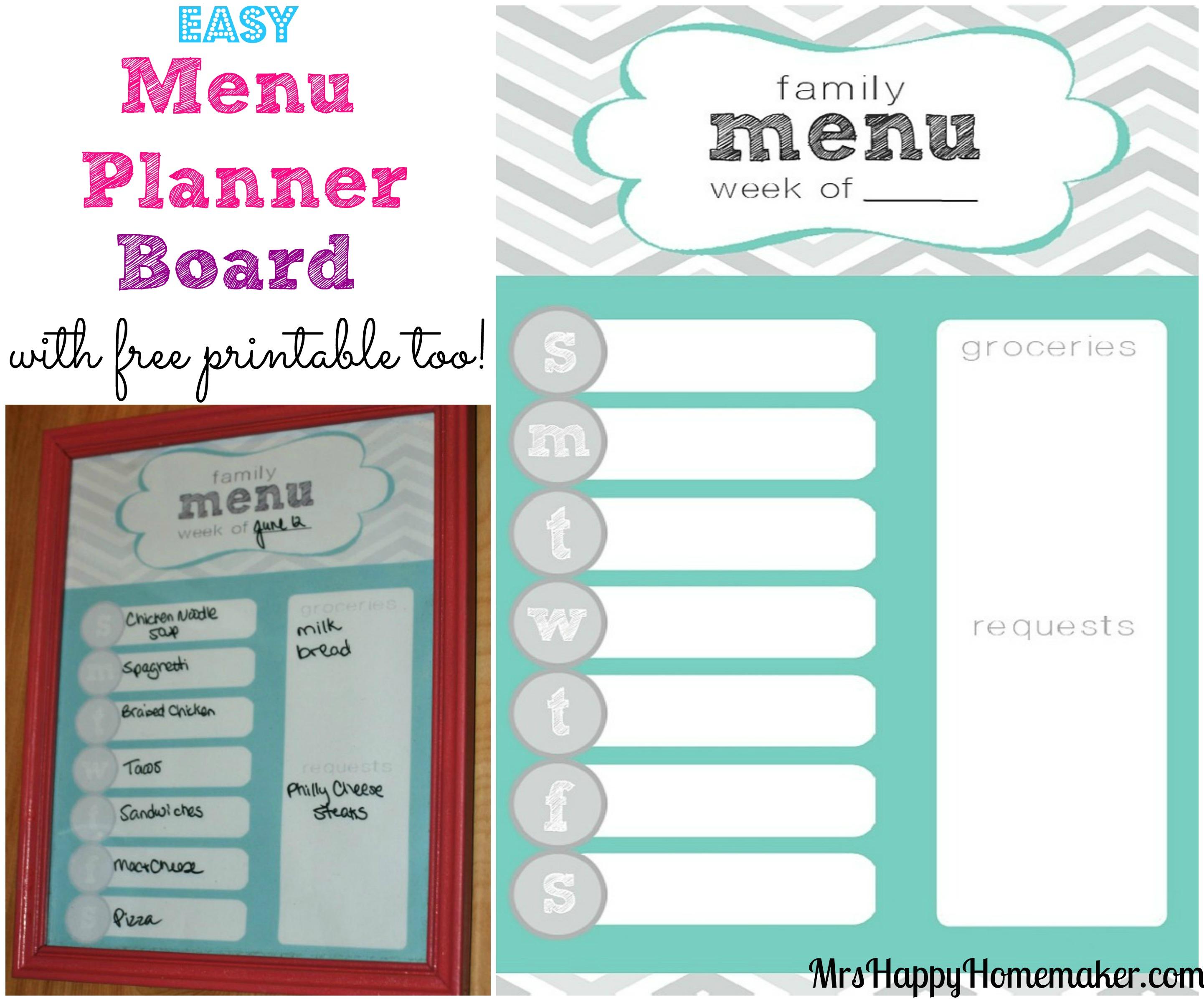 Easy Menu Planner Board