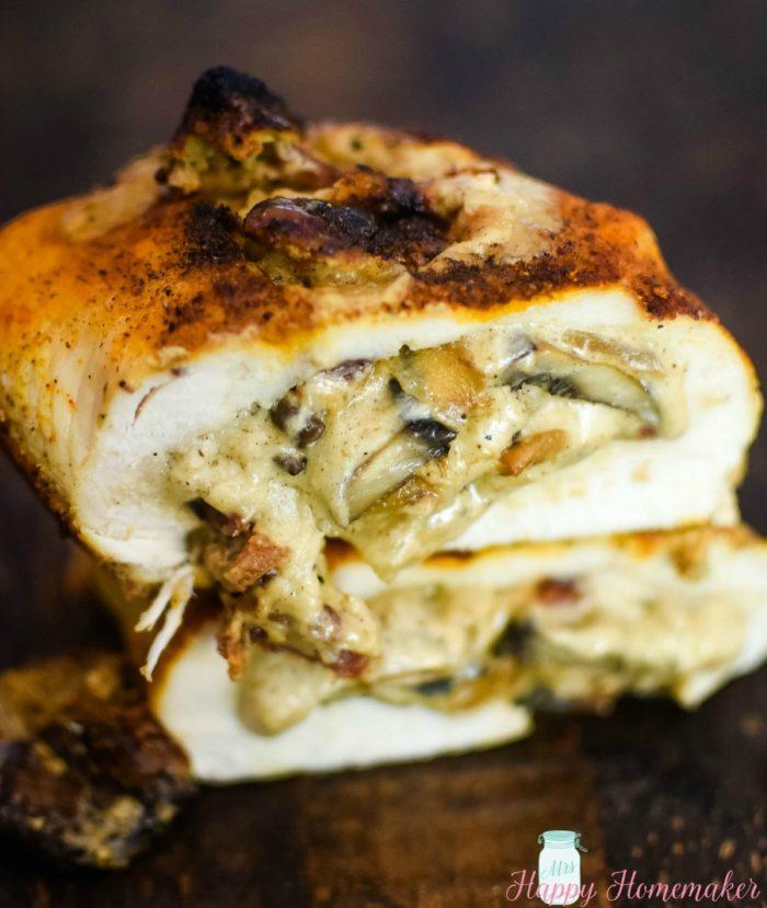 Stuffed Mushroom Spiraled Chicken recipe
