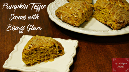 Pumpkin Toffee Scones with Biscoff Glaze