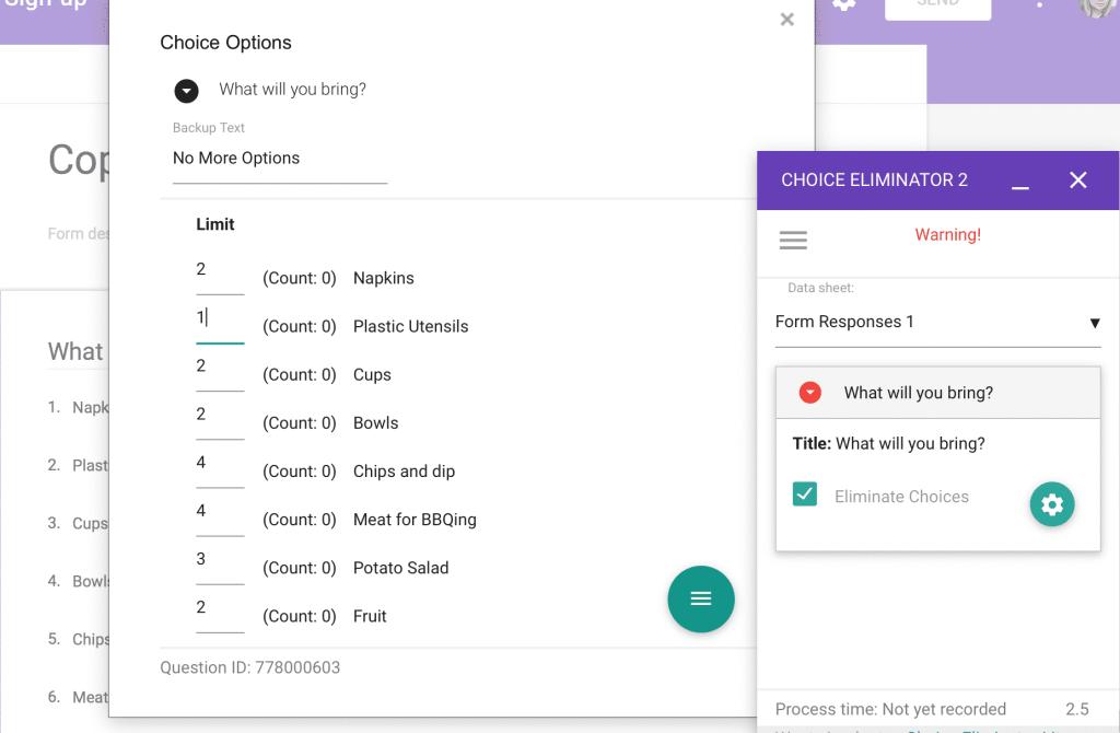 Google Forms Choice Eliminator