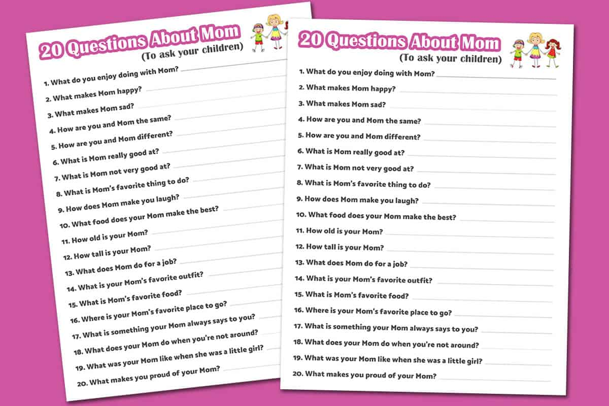 This is a graphic of Free Printable Mother's Day Questionnaire with regard to card