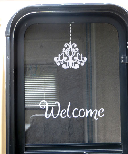 Casita Screen Door With Welcome Painted on Screen Stenciling