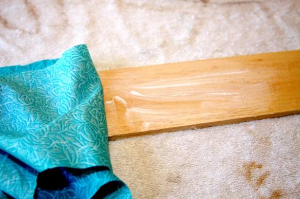 Applying Fabric to Balsa wood for window treatment