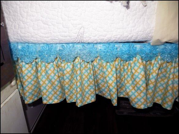 Cute Bed Skirt added to underside of bed in Mrs. Padilly's Casita Makeover