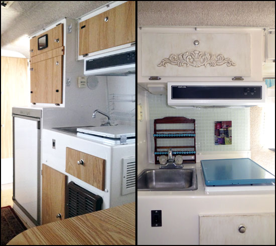 Before & After Pictures of Kitchen in Mrs. Padilly's Casita Trailer Glamping Makeover