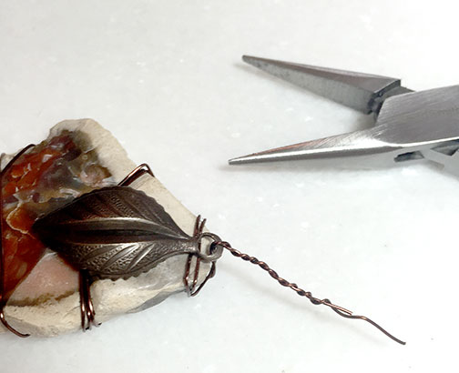 Adding a Leaf Charm with Wire to a Rock