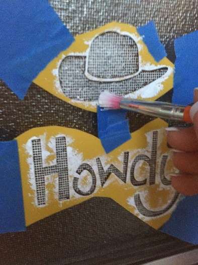 Painting a Howdy Stencil on Shasta Screen Door