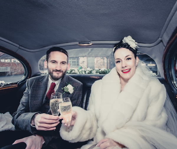Winter wedding,  Vintage wedding, donington manor, wedding car, daimler v8,  1940's Wedding Dress, mark pugh photography
