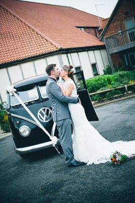key reflections photography, bride and groom and VW campervan