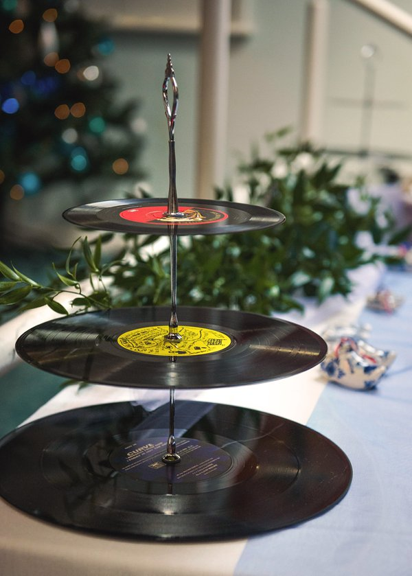winter wedding, church wedding, julie anne images, anglo dutch wedding , church hall reception, dutch decor, record  cake stand