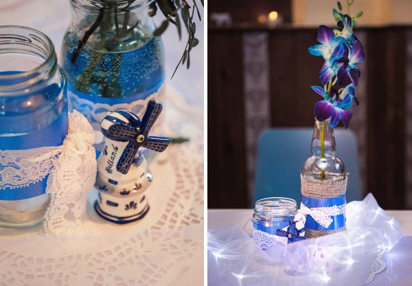 Delft pottery, winter wedding, church wedding, julie anne images, anglo dutch wedding , church hall reception, dutch decor, DIY flowers in jar, tied with string and lace, dutch porcelain windmill