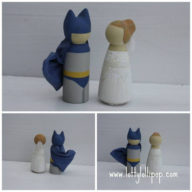 batman and bride cake topper, batman and bride wedding cake topper, hand painted cake topper, hand painted, peg doll cake topper, peg doll cake topper, lotty lollipop