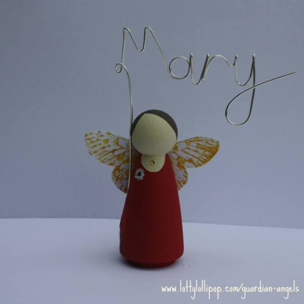 personalised fairy , hand painted wedding favour,  hand painted, peg doll, peg doll place name, lotty lollipop
