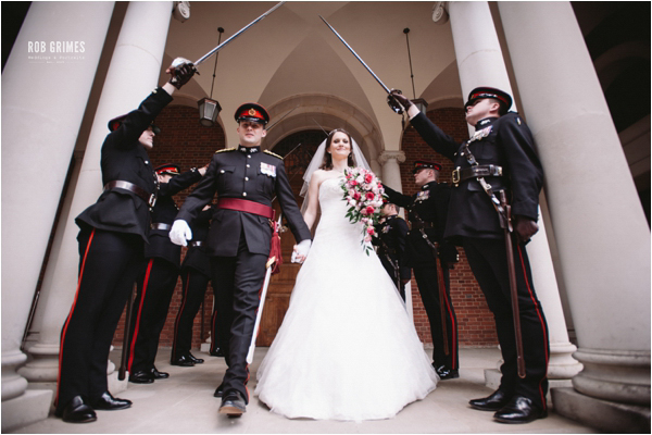 rob grimes photography, bride and groom, military guard of honour