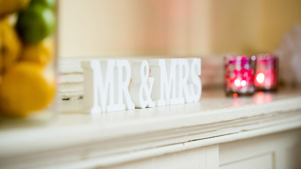 Emma & Dan wedding, Neil Redfern photography, mr and mrs sign