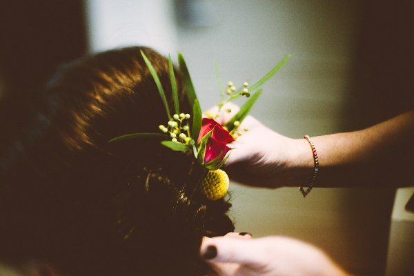 joshua porter photography, bridal hair, fresh flowers in hair, anne marie mcelroy hair styling - sorelle