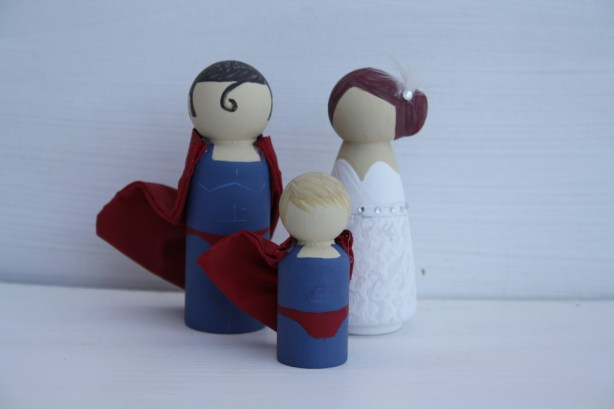 superman and bride cake topper, superman and bride wedding cake topper, hand painted cake topper, hand painted, peg doll cake topper, peg doll cake topper, lotty lollipop