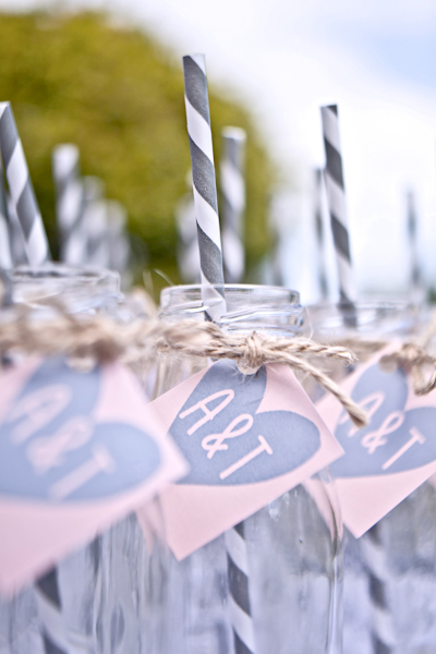 Karen Massey Photography, post ceremony drinks, jars and straws, personalised tag