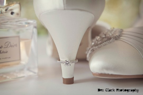 bridal shoe, engagement ring, ring shot, perefume, ben clark photography