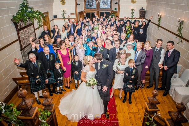 mike cook photography, wedding guest group shot, dalhousie castle
