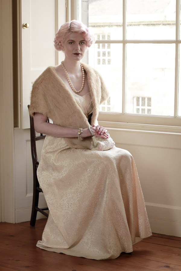 1930's Wedding Dress with detachable shawl collar,  Blush coloured Satin Brocade,  Fur Shawl ,  Jewellery by Chic & Unique vintage costume jewellery, image gillian glover maclean