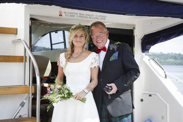 bride, dragonfly dress design, vintage dress, father of the bride, tartan trousers, silver photography