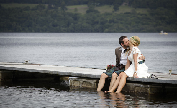 bride and groom,loch lomond, silver photography