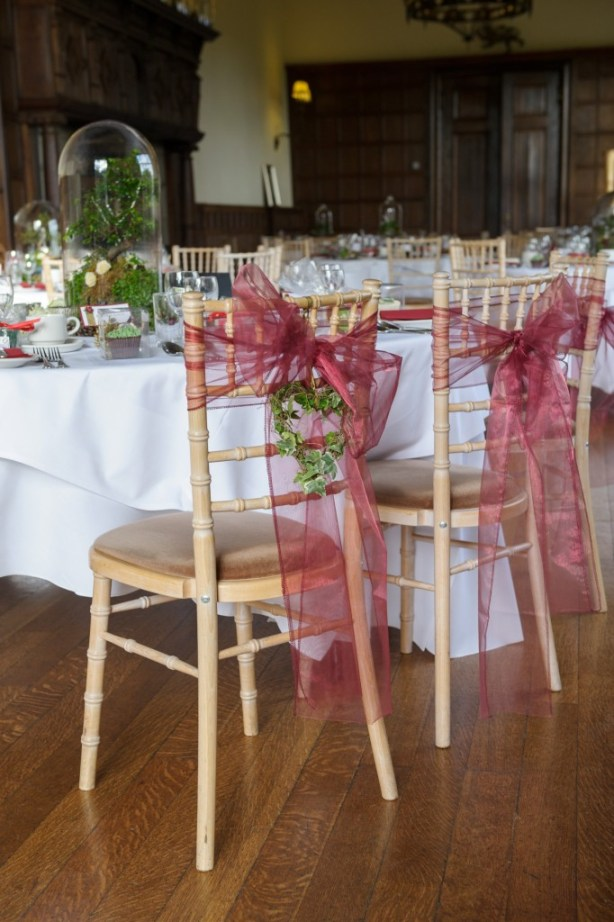 Layer-Marney-Tower, Pengelly-Photography, lord of the rings table detail, red organza chair ties