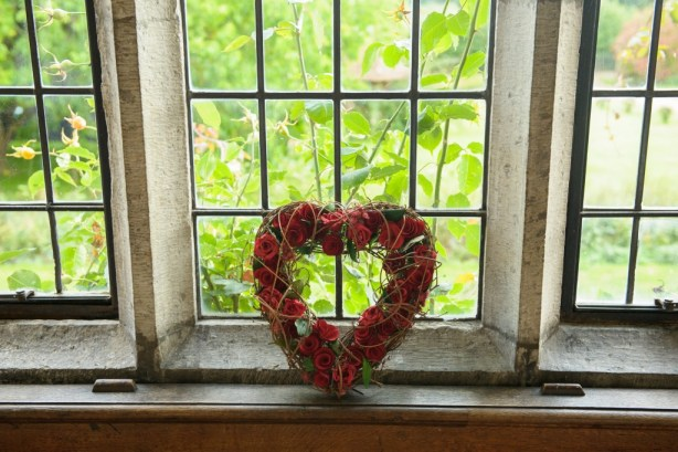 Layer-Marney-Tower, Pengelly-Photography, red rose floral heart, clare luke, traditional vintage flower company essex