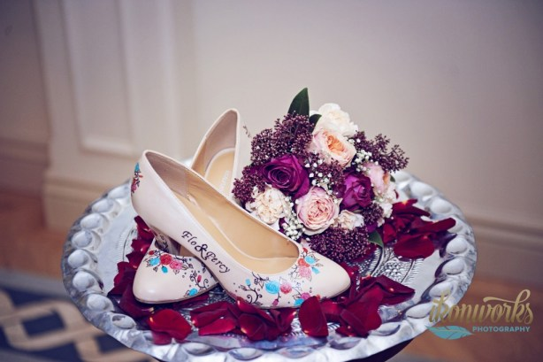 ikonworks photography, red and pink flowers, beautiful moment art - hand painted shoes