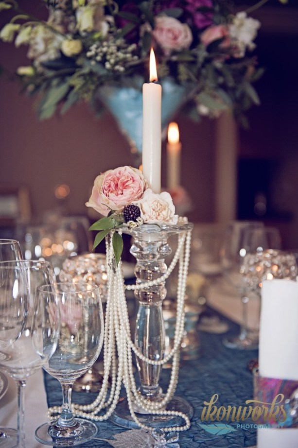 ikonworks-photography, silver candle stick, floral arrangement