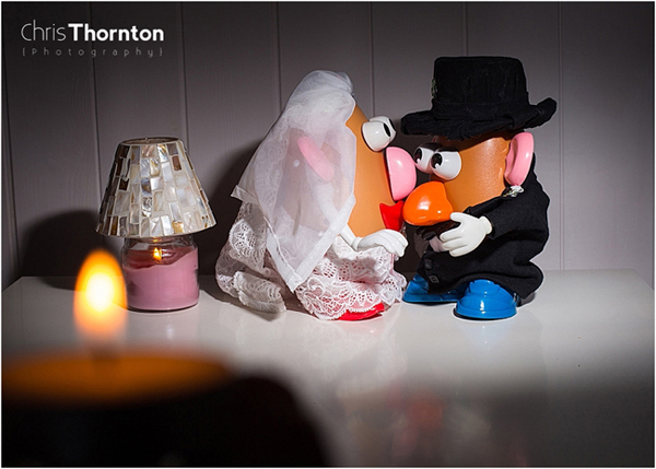 Mr Potatohead wedding, Ellen Degeneres, Metro newspaper, Daily Mail newspaper, huffpost weddings, leeds wedding photographer, chris thornton photography, wedding of Mr and Mrs Potato head, indoor couples shots