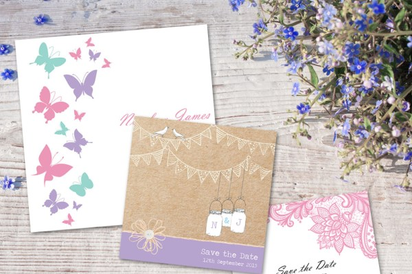 Lilac Invite, wedding stationery, tree of hearts