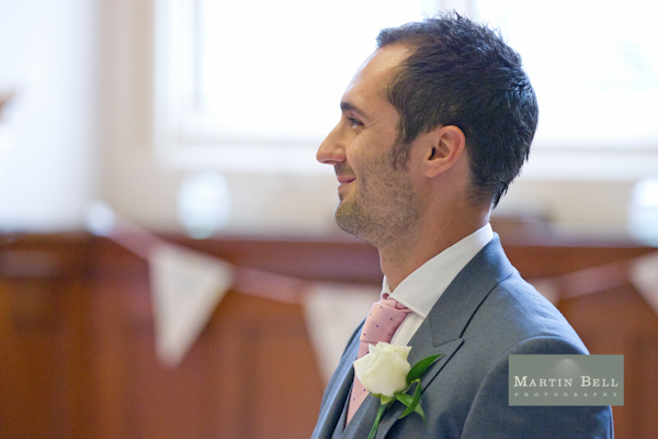 waiting groom, Winchester wedding photography, Martin Bell Photography